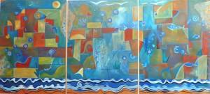 """Mural donado al CMC - """"Redes en el mar"""" (Técnica mixta sobre madera) - Artistas: Monserrat y Julia González Arana - www.gonzalezarana.com.ar"""
