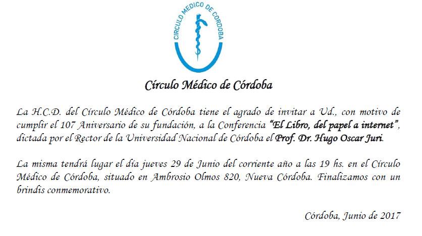Tarjeta de Invitación - 107 Aniversario CMC